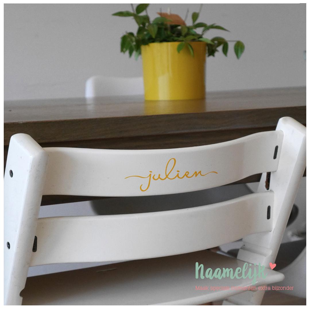 Kinderstoel met naam - naamsticker Jack okergeel