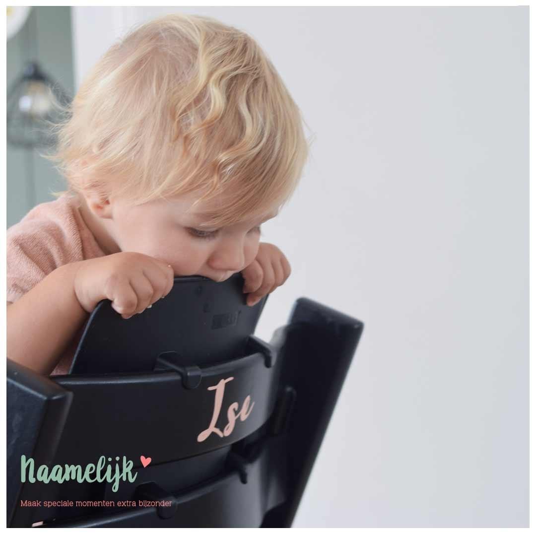 Kinderstoel met naam - naamsticker Jackie oudroze