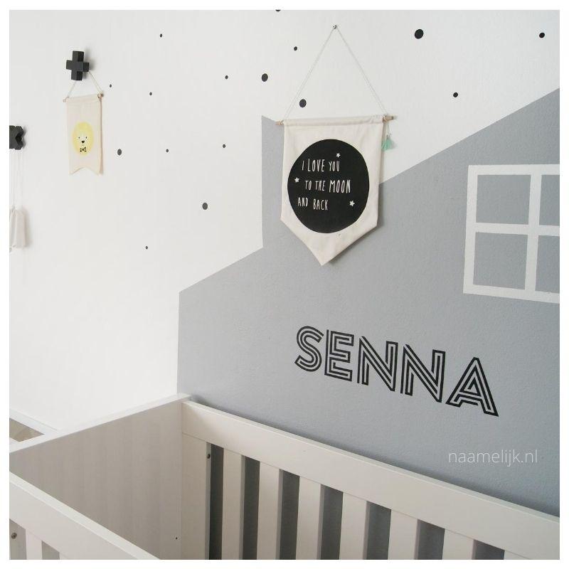 Muursticker babykamer op geverfde muur, maat L