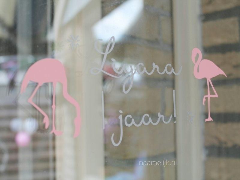 Raamsticker verjaardag flamingo