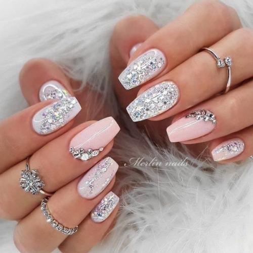 nagelsalon assen bruidsnagels wit glitters blingbling en roze met zilver - nagelstudio assen