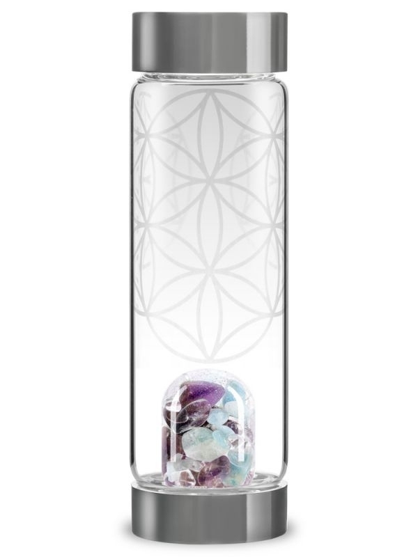 VitaJuwel ViA fles met Levensbloem + Amethist, Aquamarijn, Bergkristal