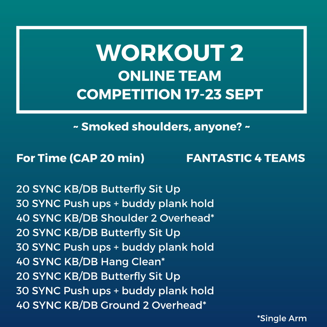 Online team competition workout 2 Fantastic 4 teams