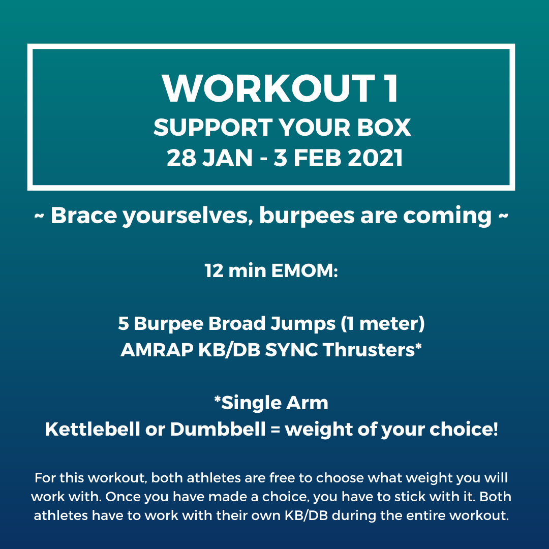 Workout 1 - Support your box 28 jan - 3 feb 2021