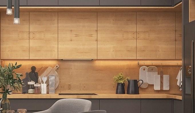 Achterwand keuken hout