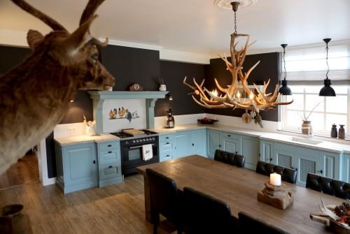 Nostalgische blauwe keuken