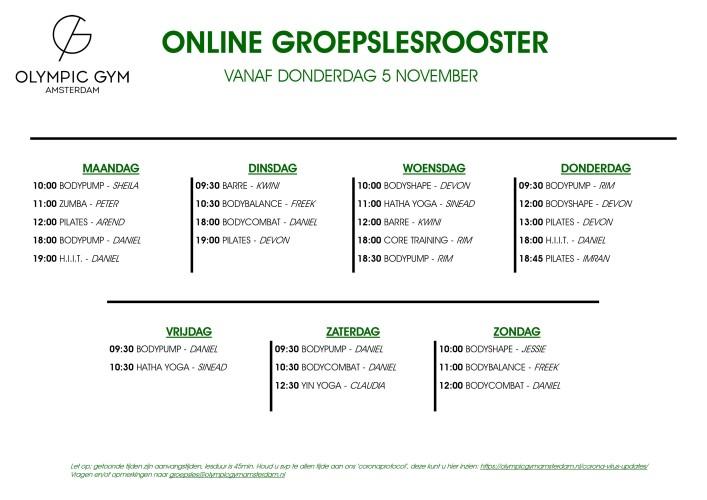 Online Groepslesrooster