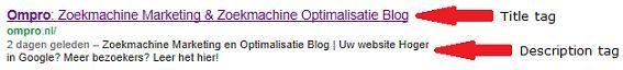 zoekresultaten title en description tag