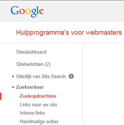 zoekopdrachten in Google webmaster tools