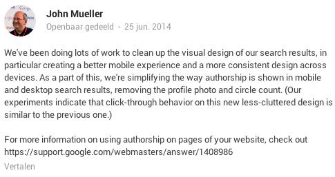 John Mueller Google verwijdert auteursfoto