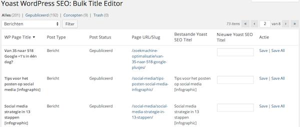 Yoast SEO bulk title tag editor