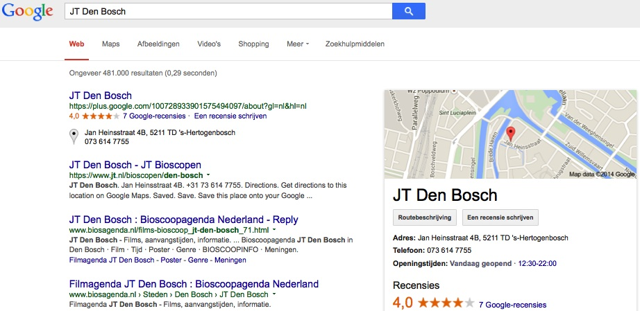 Weergave bedrijfsnaam in Google mijn bedrijfs
