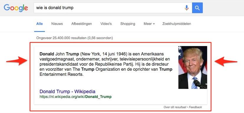 Featured snippets google zoekresultaten