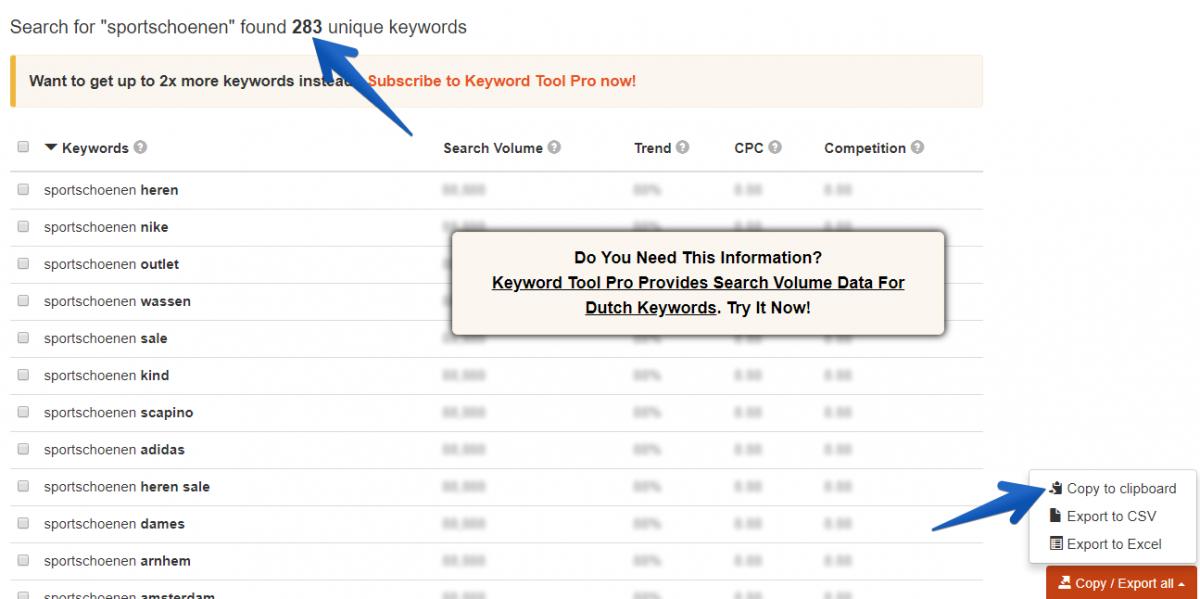 Keyword tool gebruiken