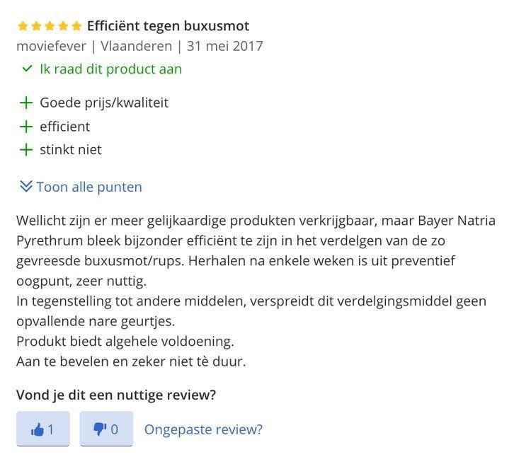 ervaringen bayer Natria Pyrethrum