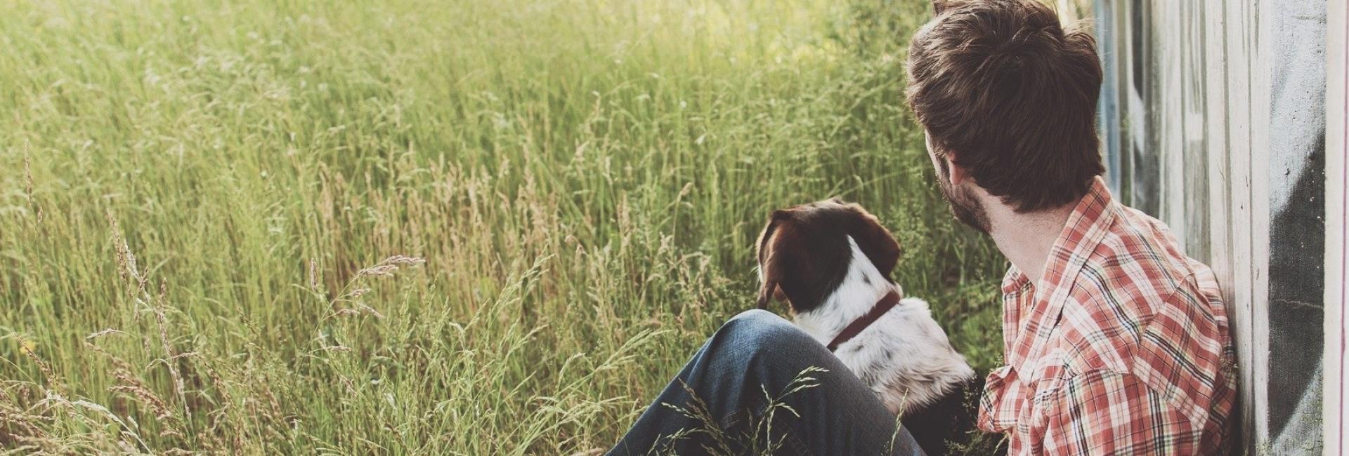 man en hond in het gras