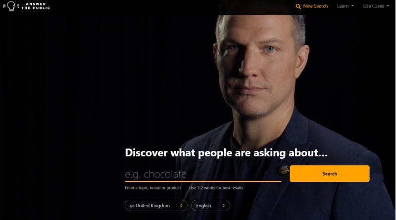 Dit is het start scherm van Answer the Public. Via Answer the Public kun je zoekwoord onderzoek doen als ondernemer.