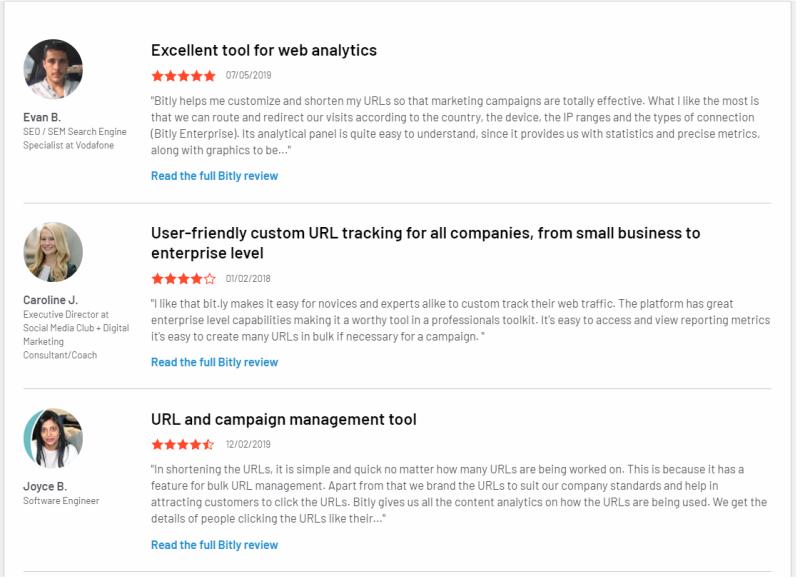 Bekijk deze Bitly Link Short Url Reviews om er achter te komen wat andere mensen zeggen over hun ervaring met het Bitly Link Management Systeem.