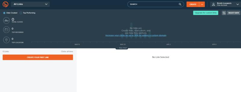 Dit is het dashboard van de Bitly Paid App en hier kun je alle zaken regelen rondom jouw verkorte link management.