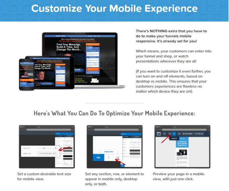 Op deze Clickfunnels Landingspagina Review zie je hoe je de mobiele weergave van je website / funnel bouwt. Dit ziet er super uit en werkt prachtig!