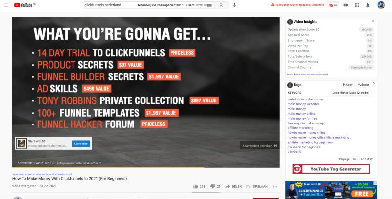 In deze afbeelding zie je een Clickfunnels advertentie via Youtube. Hierin worden de voorwaarden gepitcht die je krijgt als je inschrijft voor de Clickfunnels software.