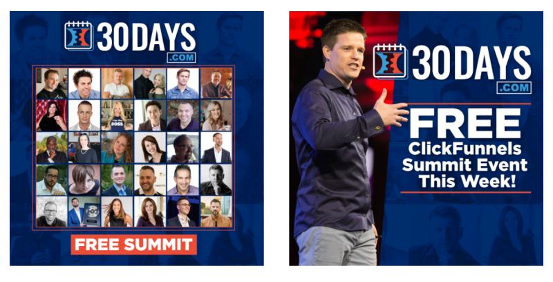 Via de Clickfunnels Free Summit leer je hoe je in 30 dagen een nieuw bedrijf kunt bouwen via de software van Clickfunnels. Russell Brunson geeft deze cursussen.