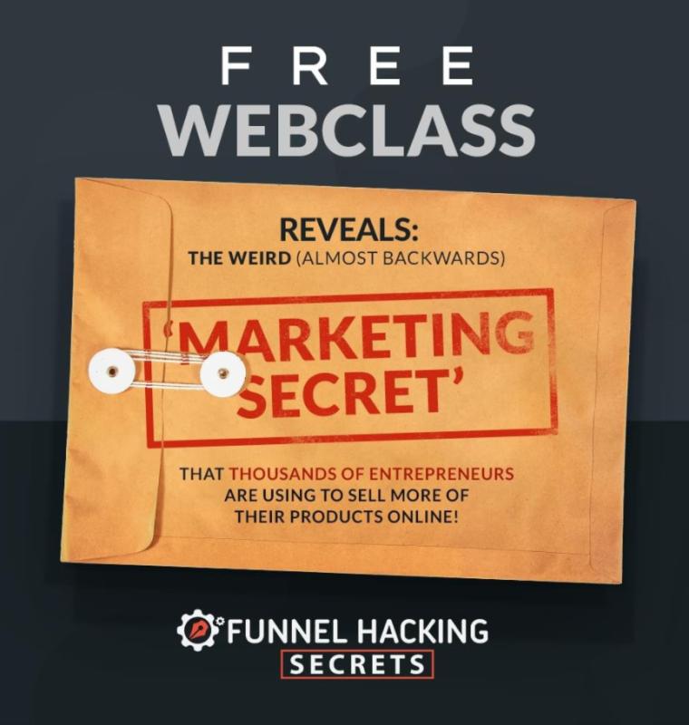In Clickfunnels Marketing Secrets kun jij een gratis webinar volgen over Funnel Hacken! Je leert dit toepassen via Clickfunnels.