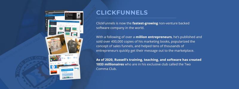 Deze afbeelding toont een promotie voor de Two Comma Club, de miljonairsclub van Clickfunnels. Hopelijk ga jij hier ooit deel van uit maken!
