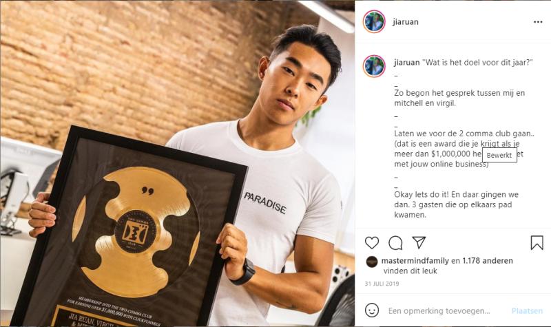 Jia Ruan werd lid van de Clickfunnels Twocomma Club door met zijn Clickfunnels Funnel MEER DAN 1 miljoen dollar om te zetten.