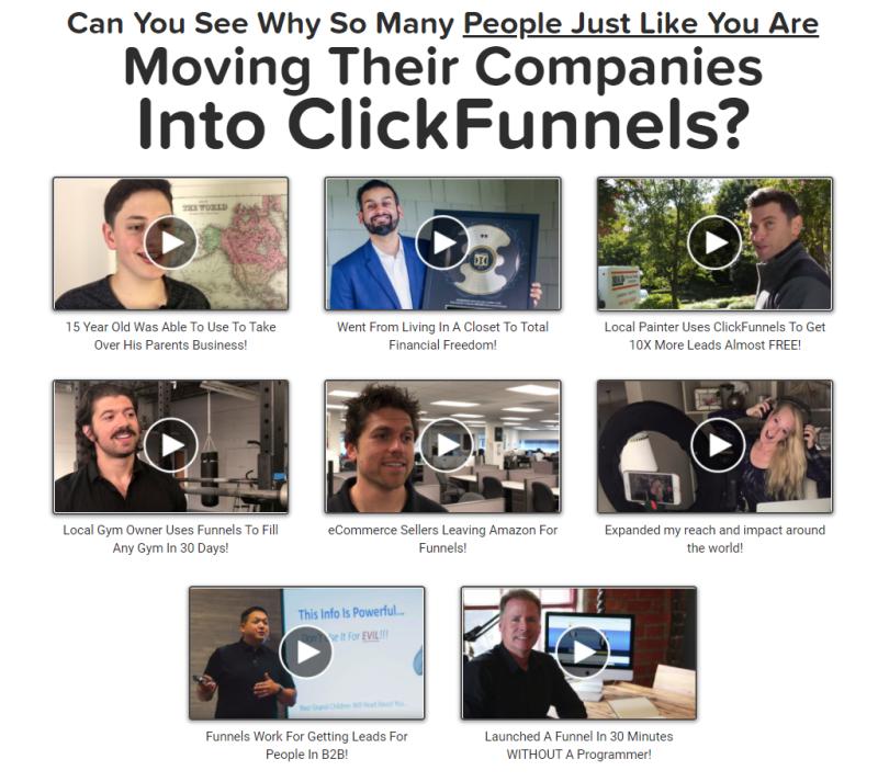 De Clickfunnels website bouw software is in gebruik door meer dan 110.000 mensen over de hele wereld. Hier zie je enkele testimonials van Clickfunnels klanten die flink gegroeid zijn met de software.