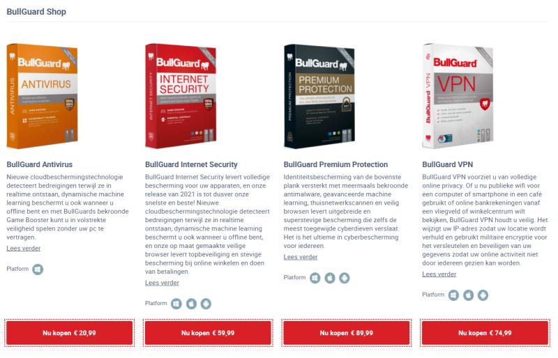 Computer beveiliging via Bullguard voorkomt dat jij een virus op je pc krijgt. Op deze afbeelding zijn de verschillende abbonnementen te zien.