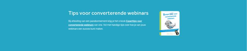 Op deze afbeelding staat een promotie voor het Converterende webinars e-book dat mensen krijgen wanneer ze registreren voor een jaar abonnement!