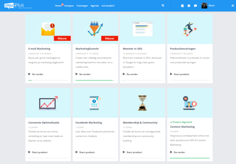 Het E Learning Platform van IMU is een super platform voor online marketeers die willen leren hoe ze digitale kennisproducten kunnen bouwen en lanceren.