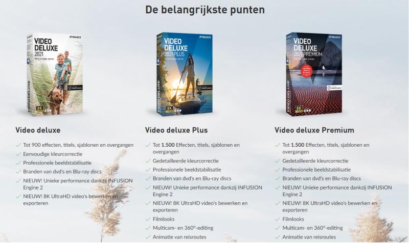 Op deze foto zie je de features van de Magix Video editing software. Je kunt hier precies zien welke features elk software pakket omvat!