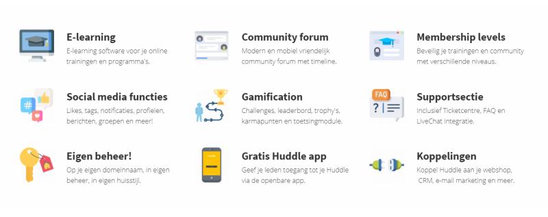 Deze afbeelding toont de Huddle COmmunity Software Features