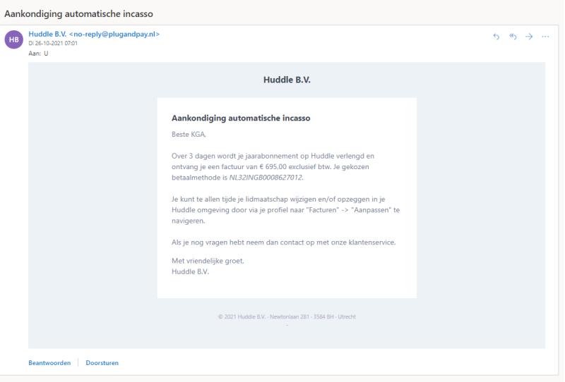 Jouw Huddle E-Learning Community SOftware verlengen gebeurt automatisch wanneer jij jouw abbonnement niet stopzet voor de 14 daagse termijn verloopt.