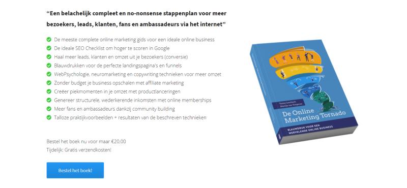Bestel voordat jij aan de slag gaat met het lezen van mijn Huddle Review en Ervaringen de Online Marketing Tornado! In dit boek lees je alles over het online marketing kernproces.