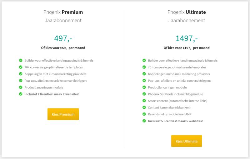 Op deze afbeelding zie je de kostprijs van Phoenix Premium en Ultimate