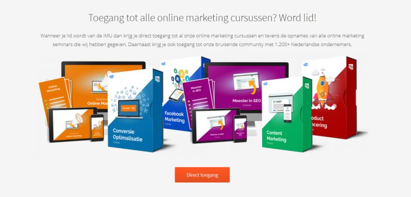 Op deze afbeelding zie je alle IMU Plus online marketing curusssen. Deze zijn ontzettend leerzaam voor startende online marketeers.