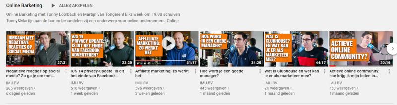 Via het IMU Youtube kanaal publiceren Martijn van Tongeren en Tonny Loorbach wekelijks online marketing video's (Format heet Barketing)!