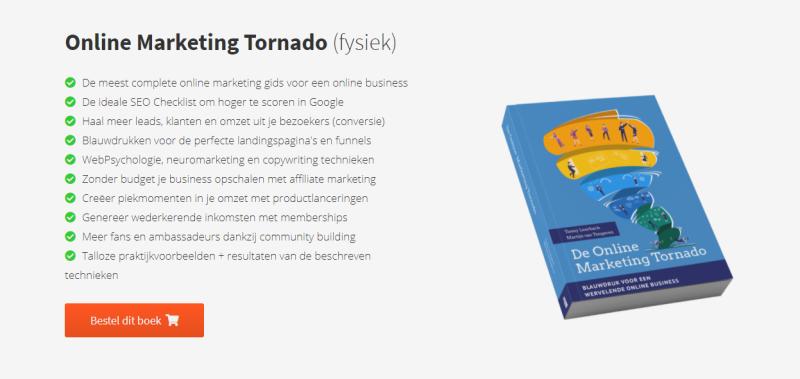 De Internet Marketing Unie schreef de Online Marketing Tornado, een online marketing boek waarin je leert hoe je een schaalbare online marketing business bouwt! IMU zette het hele kernproces uiteen voor ondernemers.