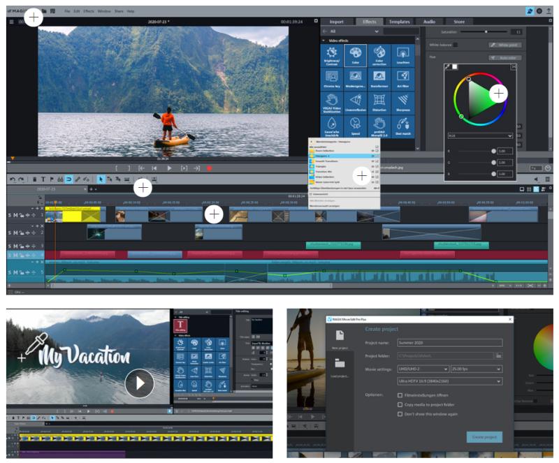 Zo ziet Magix video editing software er in de praktijk uit. Als jij echt professionele projecten maakt en met meerdere lagen werkt kun jij prachtige filmprojecten maken!