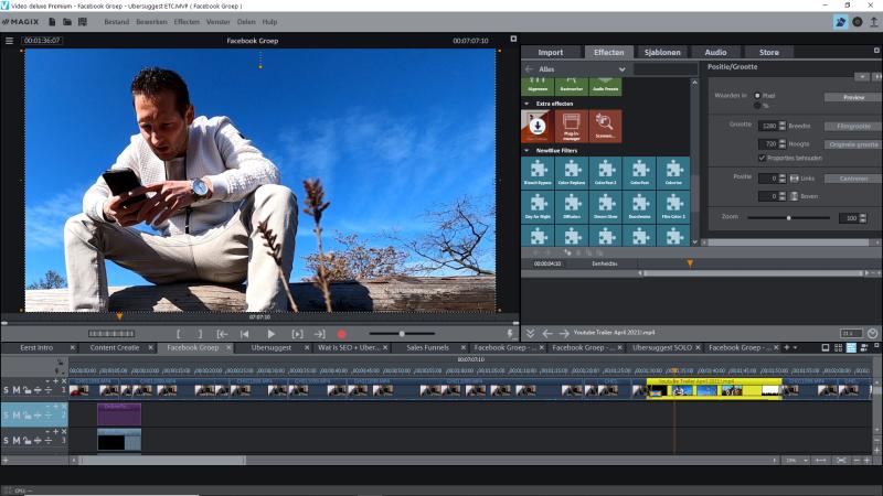 Zo ziet de Magix Video Editing Software Interface er uit. Hier kun je jouw films en video's bewerken tot mooie marketing content.