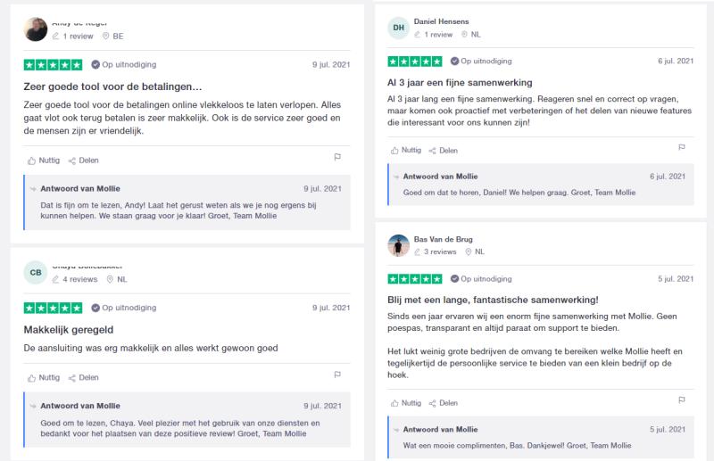 Mollie krijgt veel positieve reviews van klanten en bewijst daarmee dat ze een uitstekende partner zijn om online betalingen mee te doen. Voor meer positieve reviews over Mollie kun je lezen op Trustpilot