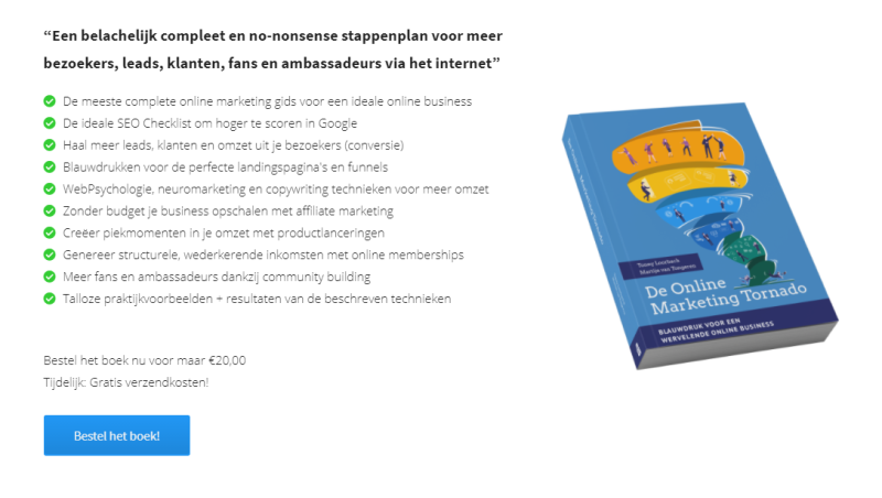 De Online Marketing Tornado is een boek waarin het bouwen van een online marketing business centraal staat. Het is een aanrader voor iedere online ondernemer die met zoekmachine marketing aan de slag wil!