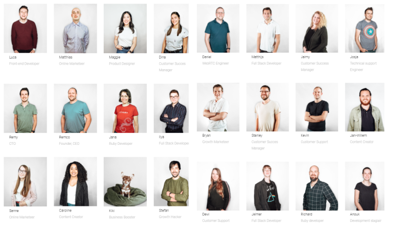 Op deze afbeelding zie je het personeel van Webinar Geek. Op het moment van schrijven werken er 24 personen voor het Webinar Platform!