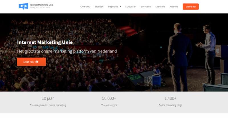 In deze afbeelding zie je een site van de Phoenix Website Software van IMU. Op deze afbeelding zie je de site van de Internet Marketing Unie die eigenaar is van deze website software.