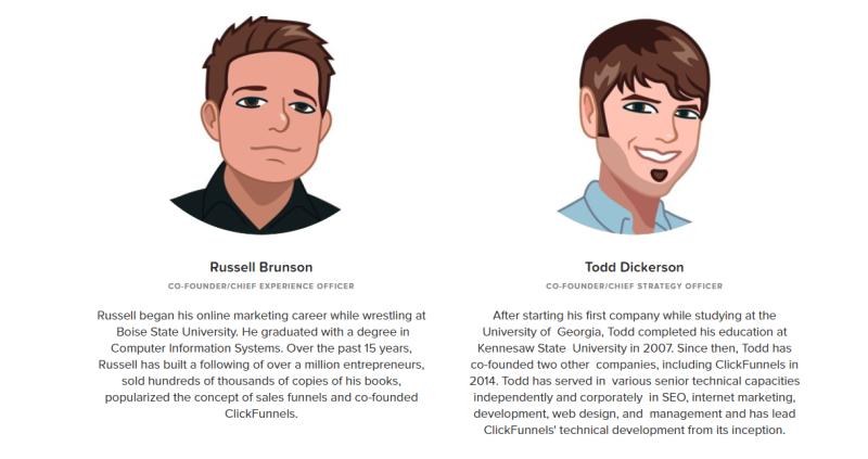 Russel Brunson is de eigenaar van Clickfunnels. Op deze afbeelding zie je hem en zijn compagnon.