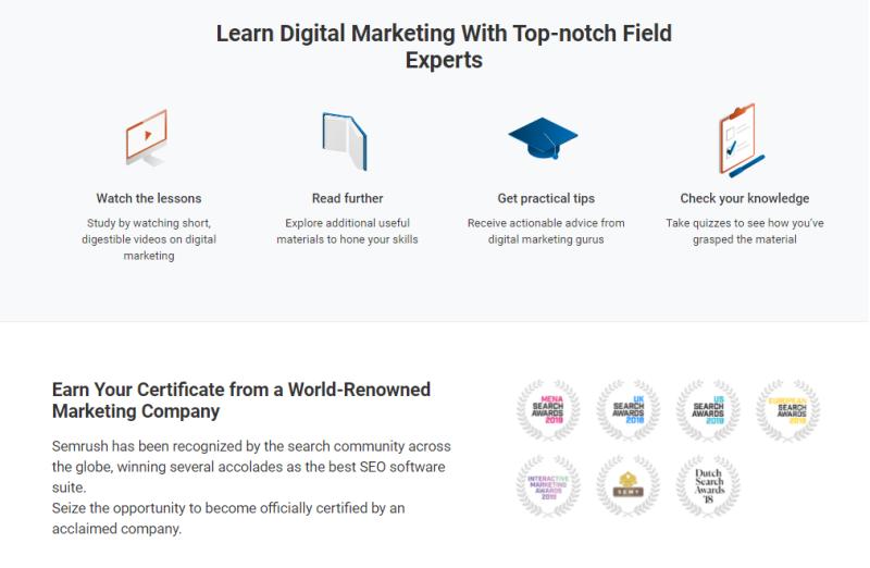 In de Semrush Academy kun jij via gratis cursussen aan jouw online marketing vaardigheden werken en diploma's halen die ECHT iets waard zijn in het bedrijfsleven.