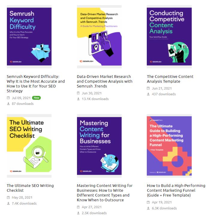 Semrush geeft E-Books uit om haar members op te leiden tot betere marketeers. Via deze E-books leer jij over allerlei onderwerpen die geoptimaliseerd kunnen worden via Semrush.